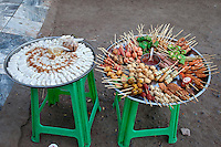 Myanmar, Burma.  Food Snacks for Sale outside Mahamuni Temple.