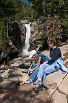 Tamara, Claire, (MR), mother, daughter, Old Fall River Road, Chasm Falls, spring, morning, color, trees, forest,  scenic, nature, June, Rocky Mountain National Park, Colorado, Rocky Mountains, USA