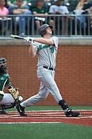 Tommy Lane (19) of the Marshall Thundering Herd follows through on his swing against the Charlotte 49ers at Hayes Stadium on April 23, 2016 in Charlotte, North Carolina. The Thundering Herd defeated the 49ers 10-5.  (Brian Westerholt/Four Seam Images)