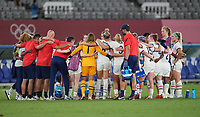 TOKYO, JAPAN - JULY 20: The United States hydrating during a game between Sweden and USWNT at Tokyo Stadium on July 20, 2021 in Tokyo, Japan.