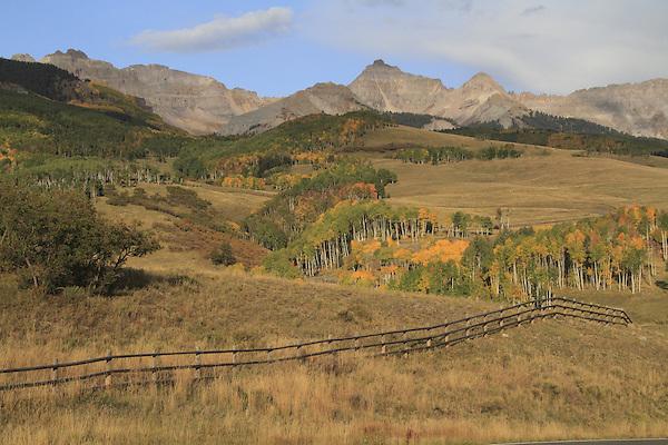 Fence along Last Dollar Road in San Juan Mountains, Telluride, Colorado.