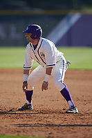 Tim Mansfield (3) of the High Point Panthers takes his lead off of first base against the NJIT Highlanders at Williard Stadium on February 19, 2017 in High Point, North Carolina. The Panthers defeated the Highlanders 6-5. (Brian Westerholt/Four Seam Images)