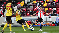 Marcus Forss of Brentford takes a shot at the Watford goal during Brentford vs Watford, Sky Bet EFL Championship Football at the Brentford Community Stadium on 1st May 2021