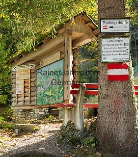 Austria, Styria, village Johnsbach at Johnsbach Valley: hiking trail signpost for Sudeten-Alps-Adria-trail | Oesterreich, Steiermark, Johnsbach im Johnsbachtal: Hinweisschild Internationaler Sudeten-Alpen-Adria-Weg