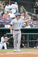 Matt Chapman (7) of the Stockton Ports bats during a game against the Inland Empire 66ers at San Manuel Stadium on June 28, 2015 in San Bernardino, California. Stockton defeated Inland Empire, 4-1. (Larry Goren/Four Seam Images)