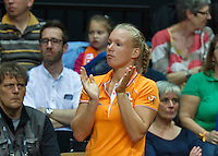 Arena Loire,  Trélazé,  France, 16 April, 2016, Semifinal FedCup, France-Netherlands, Second match: Richel Hogenkamp (NED) is being supported by her team member Kiki Bertens<br /> Photo: Henk Koster/Tennisimages
