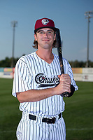 Idaho Falls Chukars first baseman Reed Rohlman (19) poses for a photo prior to a Pioneer League game against the Great Falls Voyagers at Melaleuca Field on August 18, 2018 in Idaho Falls, Idaho. The Idaho Falls Chukars defeated the Great Falls Voyagers by a score of 6-5. (Zachary Lucy/Four Seam Images)