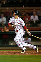 Scottsdale Scorpions second baseman Brantley Bell (38), of the Cincinnati Reds organization, follows through on his swing during an Arizona Fall League game against the Peoria Javelinas on October 20, 2017 at Scottsdale Stadium in Scottsdale, Arizona. the Javelinas defeated the Scorpions 2-0. (Zachary Lucy/Four Seam Images)