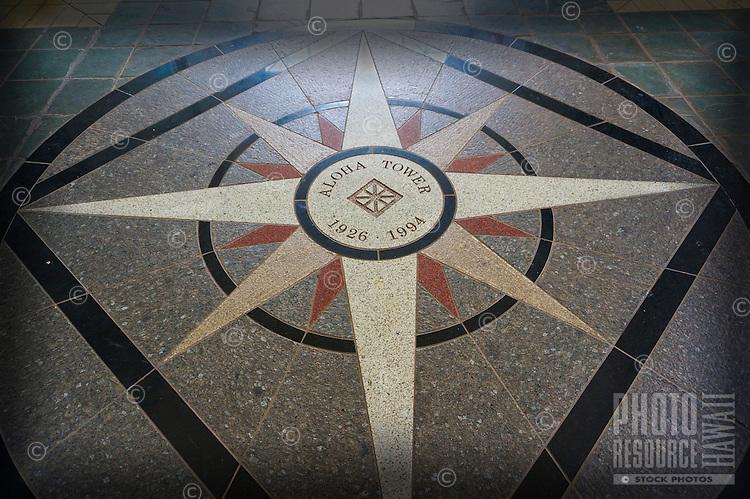 Aloha Tower's entrance features this beautiful floor tile design, Honolulu, O'ahu.