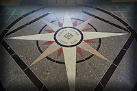 Aloha Tower's entrance features this beautiful floor tile design, Honolulu, O'ahu.