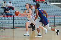 Elise Ramette (4) of Belgium and Yvonne Anderson (12) of Serbia pictured during a basketball game between the national teams of Belgium , called the Belgian Cats , and Serbia on Friday 28 th of May 2021 in Kortrijk , Belgium . PHOTO SPORTPIX.BE   SPP   STIJN AUDOOREN