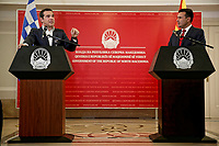 Greek Prime Alexis Tsipras with Northern Macedonian Prime Minister Zoran Zaev