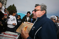 "State College, PA -- 10/25/2007 -- Penn State students camp outside of Beaver Stadium in hopes to be near the front of the student section for the game against Ohio State this Saturday.  The gathering of tents outside of the student entrance to the stadium has been dubbed ""Paternoville"" and received a visit from its namesake, Joe Paterno, and his wife, Sue, this morning.  The Paterno's delivered pizza to the students and thanked them for their support of the football team...Photo:  Joe Rokita / JoeRokita.com"