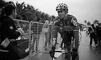 Adam Hansen (AUS/Lotto-Belisol) exhausted and shivering after finishing<br /> <br /> 2014 Milano - San Remo