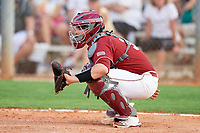 Boston College Eagles catcher Jake Goodreau (32) warms up the pitcher in between innings during a game against the Minnesota Golden Gophers on February 23, 2018 at North Charlotte Regional Park in Port Charlotte, Florida.  Minnesota defeated Boston College 14-1.  (Mike Janes/Four Seam Images)