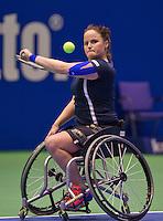 December 21, 2014, Rotterdam, Topsport Centrum, Lotto NK Tennis, Lady's wheelchair final, Aniek van Koot   Jiske Griffioen<br /> Photo: Tennisimages/Henk Koster