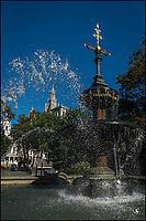 City Hall Park water fountain.