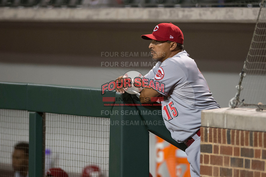 AZL Reds manager Jose Nieves (15) during an Arizona League game against the AZL Cubs 1 at Sloan Park on July 13, 2018 in Mesa, Arizona. The AZL Cubs 1 defeated the AZL Reds 4-1. (Zachary Lucy/Four Seam Images)
