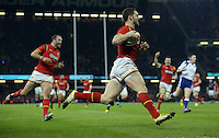 George North of Wales scoring a try during the RBS 6 Nations Championship rugby game between Wales and Scotland at the Principality Stadium, Cardiff, Wales, UK Saturday 13 February 2016