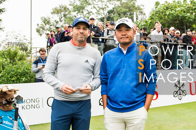 Sergio Garcia of Spain and Danny Chia of Malaysia pose for a photo during the day three of UBS Hong Kong Open 2017 at the Hong Kong Golf Club on 25 November 2017, in Hong Kong, Hong Kong. Photo by Marcio Rodrigo Machado / Power Sport Images