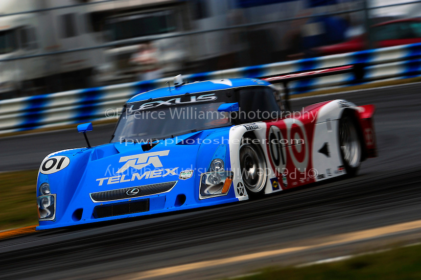 The #01 Chip Ganassi Racing Lexus/Riley of Juan Pablo Montoya, Scott Pruett, Dario Franchitti and Memo Rojas speeds to victory.