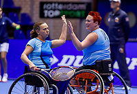 Rotterdam, Netherlands, December 15, 2017, Topsportcentrum, Ned. Loterij NK Tennis, Semi final wheelchair doubles woman, Ilse van de Burgwal (NED) (R) and Maike Derks-Snellenberg (NED)<br /> Photo: Tennisimages/Henk Koster