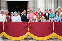 Camilla Duchess of Corwall, Prince Charles, Queen, Prince Phillip, Camilla Duchess of Cornwall, Prince Charles, Queen, Prince Phillip, Catherine Duchess of Cambridge, Princess Charlotte, Prince George, Prince William, Savannah and Isla Phillips, Peter Phillips<br /> on the balcony of Buckingham Palace during Trooping the Colour on The Mall, London. <br /> <br /> <br /> ©Ash Knotek  D3283  17/06/2017