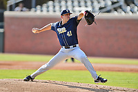 Pittsburgh Panthers starting pitcher Matt Pidich (41) delivers a pitch during a game against the North Carolina Tar Heels at Boshamer Stadium on March 17, 2018 in Chapel Hill, North Carolina. The Tar Heels defeated the Panthers 4-0. (Tony Farlow/Four Seam Images)