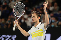 February 21, 2021: 4th seed Daniil Medvedev of the Russian Federation in action against 1st seed Novak Djokovic of Serbia in the Men's Final match match on day 14 of the 2021 Australian Open on Rod Laver Arena, in Melbourne, Australia. Photo Sydney Low.
