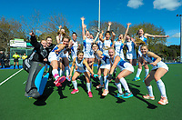 The Napier Girl's High team celebrates winning the bronze final. 2020 Lower North Island Secondary Schools Hockey Girls Premiership tournament 3rd place playoff between Napier Girls' High School and New Plymouth Girls' High School at Fitzherbert Park Twin Turfs in Palmerston North, New Zealand on Friday, 4 September 2020. Photo: Dave Lintott / lintottphoto.co.nz