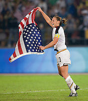 USWNT captain (3) Christie Rampone celebrates after playing for the gold medal at Workers' Stadium.  The USWNT defeated Brazil, 1-0, during the 2008 Beijing Olympic final in Beijing, China.
