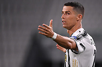 Cristiano Ronaldo of Juventus reacts during the Champions League round of 16 second leg football match between Juventus FC and Lyon at Juventus stadium in Turin (Italy), August 7th, 2020. <br /> Photo Federico Tardito / Insidefoto