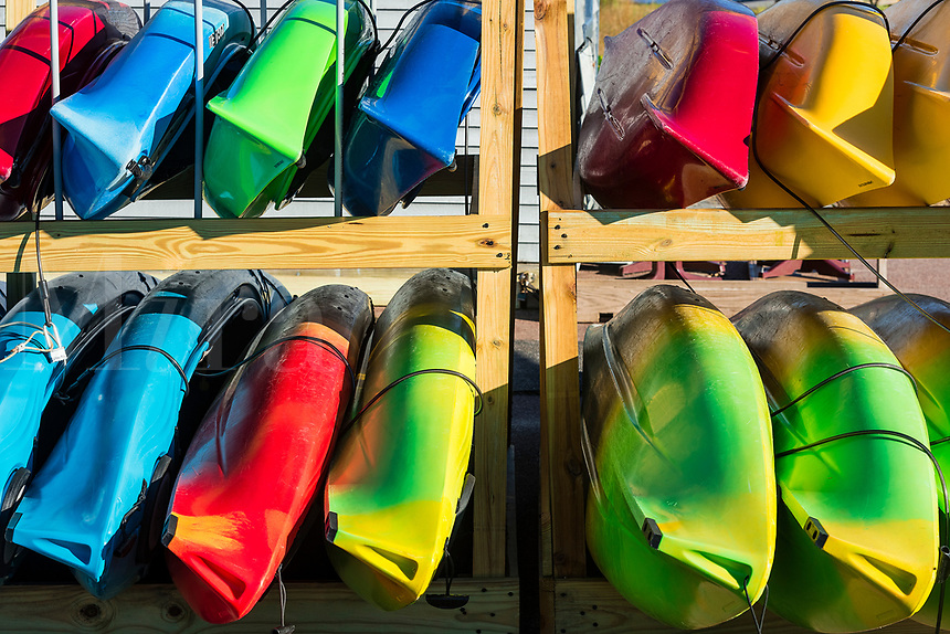 Selection of kayaks available for rent, Cape Cod, Massachusetts, USA.
