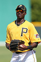 Pittsburgh Pirates outfielder Gregory Polanco #36 during practice before an Instructional League game against the Philadelphia Phillies at Pirate City on October 11, 2011 in Bradenton, Florida.  (Mike Janes/Four Seam Images)
