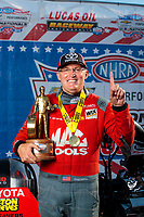 Sep 2, 2019; Clermont, IN, USA; NHRA top fuel driver Doug Kalitta celebrates after winning the US Nationals at Lucas Oil Raceway. Mandatory Credit: Mark J. Rebilas-USA TODAY Sports