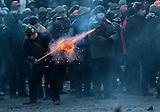 Kiew 22.01.2014 - Zusammenstöße von Polizei und Regierungsgegnern