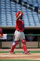 Philadelphia Phillies Juan Mendez (8) during an Instructional League game against the Toronto Blue Jays on September 17, 2019 at Spectrum Field in Clearwater, Florida.  (Mike Janes/Four Seam Images)