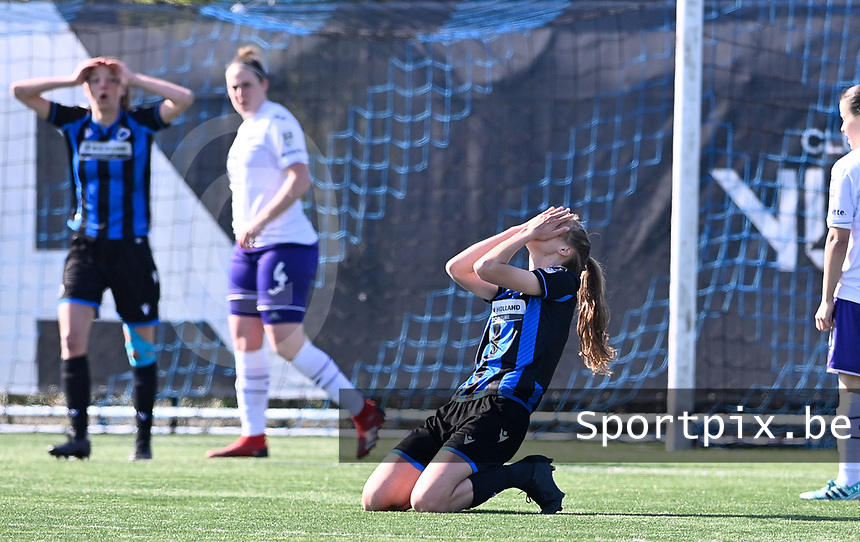 Marie Minnaert (13) of Club Brugge pictured looking dejected and disappointed during a female soccer game between Club Brugge Dames YLA and RSC Anderlecht on the fourth matchday in Play-Off 1 of the 2020 - 2021 season of Belgian Scooore Womens Super League , saturday 1st May 2021  in Brugge , Belgium . PHOTO SPORTPIX.BE | SPP | DAVID CATRY