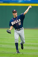 Evan Frey (21) of the Durham Bulls warms up in the outfield prior to the game against the Charlotte Knights at Knights Stadium on August 18, 2013 in Fort Mill, South Carolina.  The Bulls defeated the Knights 8-5 in Game One of a double-header.  (Brian Westerholt/Four Seam Images)
