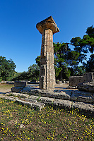 Temple of Hera monument (7th cent. B.C.) in Olympia, Greece
