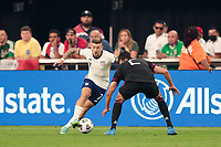 LAS VEGAS, NV - AUGUST 1: Paul Arriola #7 of the United States is marked by Nestor Araujo #2 of Mexico during a game between Mexico and USMNT at Allegiant Stadium on August 1, 2021 in Las Vegas, Nevada.