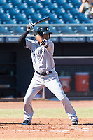 Glendale Desert Dogs shortstop Thairo Estrada (90), of the New York Yankees organization, at bat during an Arizona Fall League game against the Peoria Javelinas at Peoria Sports Complex on October 22, 2018 in Peoria, Arizona. Glendale defeated Peoria 6-2. (Zachary Lucy/Four Seam Images)