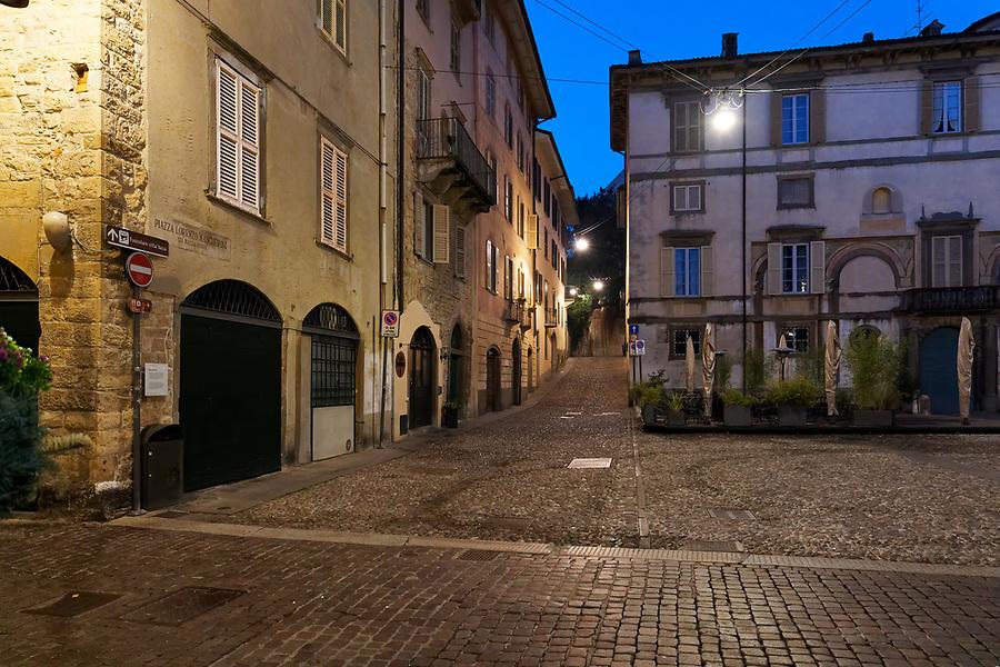 Empty streets of Bergamo, Italy at night on February 21, 2020 during caronavirus outbreak