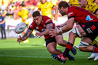 Crusaders' Codie Taylor chases the ball during the Super Rugby Aotearoa match between the Hurricanes and Crusaders at Sky Stadium in Wellington, New Zealand on Sunday, 11 April 2020. Photo: Dave Lintott / lintottphoto.co.nz
