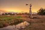 Golden Light at Sunset Abandoned Windmill on Ranch Nebraska
