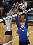 Nevada and Air Force college volleyball action in Reno, Nev., on Thursday, Sept. 25, 2014. Air Force won 3-2.<br /> Photo by Cathleen Allison