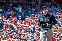 9 July 2017: Atlanta Braves third baseman Freddie Freeman heads to home scoring in the 6th inning against the Washington Nationals at Nationals Park in Washington, DC. The Nationals defeated the Braves to split their 4-game series. Mandatory Credit: Ed Wolfstein Photo *** RAW (NEF) Image File Available ***