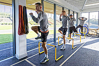 (C) Bersant Celina, George Byers, Kyle Naughton and Martin Olsson exercise in the gym during the Swansea City Training Session at The Fairwood Training Ground, Swansea, Wales, UK. Thursday 27 September 2018