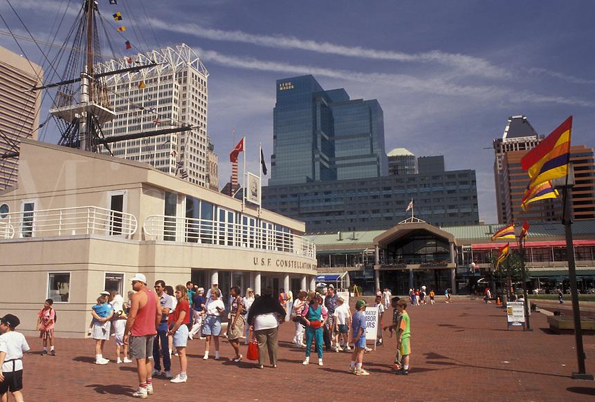 AJ3418, Baltimore, Inner Harbor, Maryland, People walking along Harborplace on the Inner Harbor in downtown Baltimore in the state of Maryland,