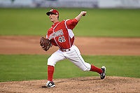 Batavia Muckdogs pitcher Scott Squier (41) delivers a pitch during a game against the Lowell Spinners on July 16, 2014 at Dwyer Stadium in Batavia, New York.  Lowell defeated Batavia 6-4.  (Mike Janes/Four Seam Images)